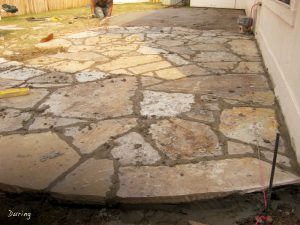 This Oklahoma Flagstone Patio Was Placed Over An Existing Combination Of  Old Concrete Patio And Grass. The Entire Patio Is Sloped To Route Water  Away From ...